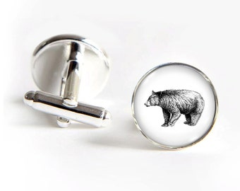 BEAR Cufflinks silver 18mm cuff links Gifts for him