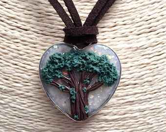 Heart tree Life necklace, polymer clay, Christmas gift, personalized gift, protective amulet, handmade, heart tree