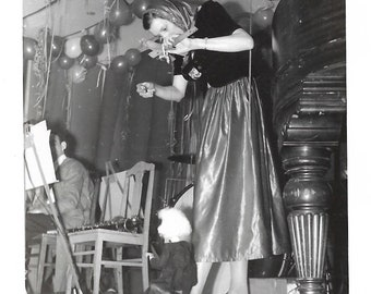 """Vintage Snapshot """"The Puppeteer"""" Woman On Stage With Puppet Party Balloons Black & White Original Found Photo Vernacular Photography"""