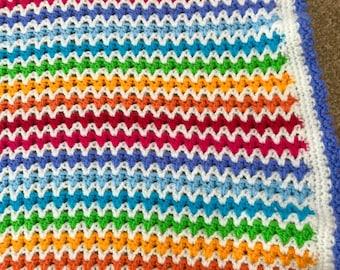 Rainbow V stitch baby blanket