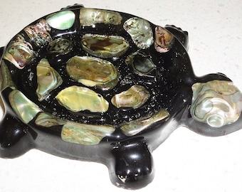 Abalone Shell Turtle Soap or Trinket Dish Handmade Wondermold Ind., Inc., Made In USA Ocean Shells