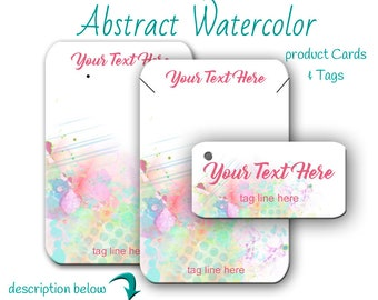 Custom Earring Cards | Watercolor Jewelry Cards | Tags | Jewelry Display | Earring Cards |  Cards For Jewelry | Custom Tags | Display