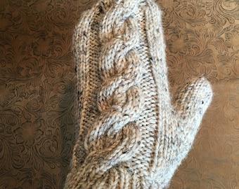 Adult Small/Medium Fisherman's Wool Cabled Mittens - Birch Tweed -