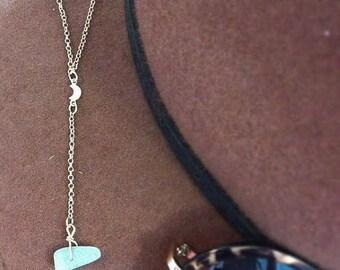Aquamarine Lunar 18K Gold Fill Drop Necklace
