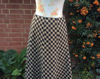 1960's Black and Beige Checkerboard Skirt by Go-del