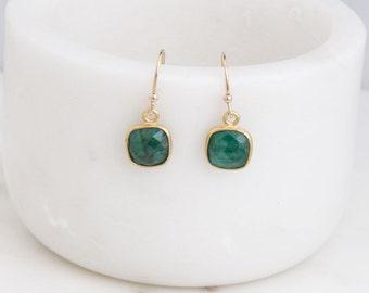Gemstone Square Dangle Earrings, Gemstone Drop Earrings, Gemstone Dangle Earrings, Everyday Wear, Gift for Her, Boho Earrings,Gemstone Drops