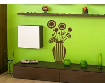 20% OFF Memorial Day Sale Retro Flower Vase wall decal, sticker, mural, vinyl wall art