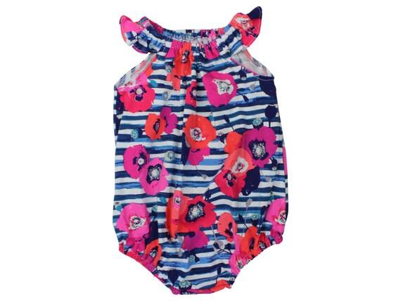 Baby Romper Toddler Romper Floral Baby Romper Coral And Blue Romper Flutter Sleeve Bonnet