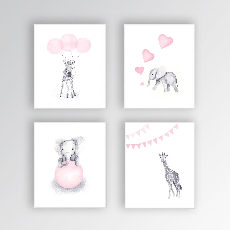 Baby Mädchen Kinderzimmer Kunst Tier Kinderzimmer Dekor