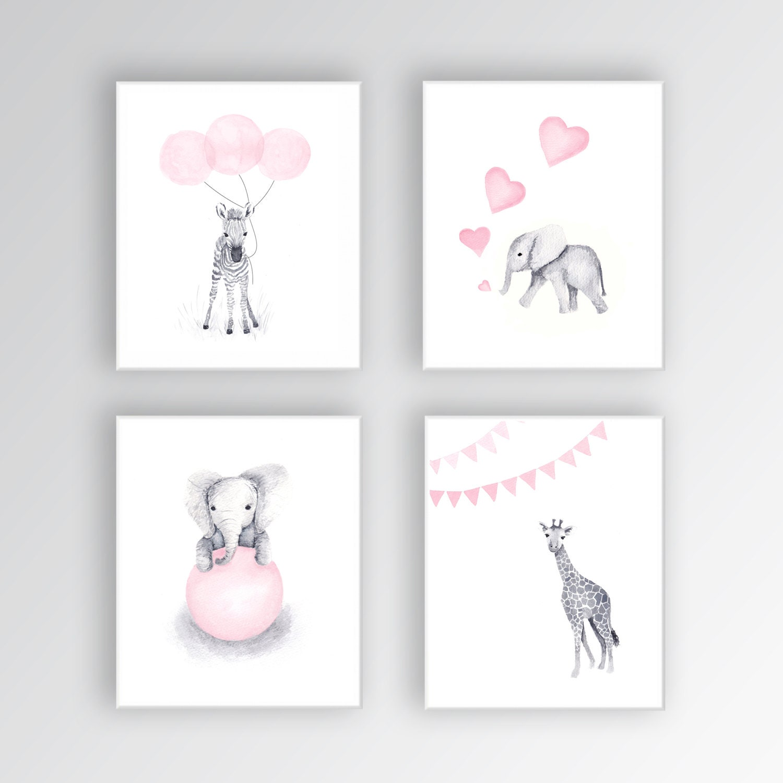 ?zoom  sc 1 st  Etsy & Baby Girl Nursery Art CANVASES Animal Nursery Decor Elephant