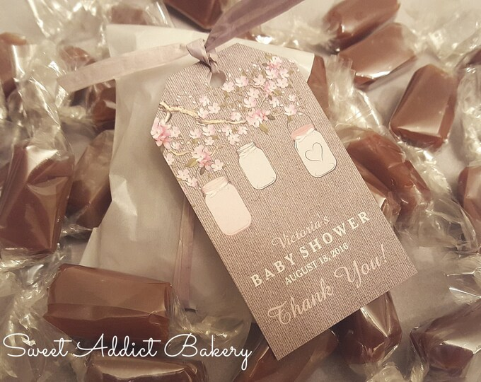 Floral BABY SHOWER FAVORS - 2 Caramels each - Grey & Pink - Personalized and custom made for you and your guests to enjoy