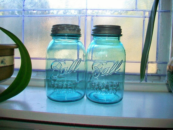 2 Blue Ball Jars Perfect Mason Quarts 1923 to 1933 Rustic Farmhouse