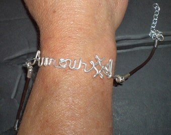 Names and monograms custom bracelets, necklaces, names, symbols, wire ' Silver, with or without bead, text, handmade