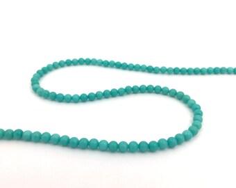 50 Dyed Jade Bead, Turquoise Bead, 4mm Round Spacer, Gemstone Bead, Semiprecious Stone, Natural Stone Bead, DIY Craft