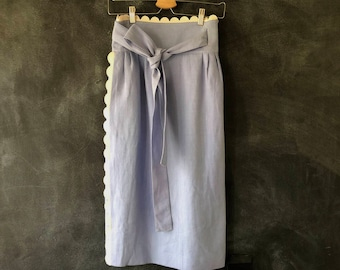 Chloe Baby Blue Linen Wrap Skirt Scalloped Edged Pencil Knee High Waisted Skirt Ladies Size 38
