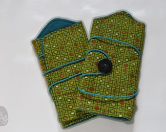 Fingerless gloves, wrist warmers colorful mosaic pattern
