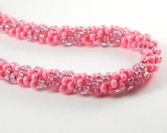 Pink Spiral Kumihimo Necklace