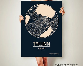 TALLINN Estonia CANVAS Map Tallinn Estonia Poster City Map Tallinn Estonia Art Print Tallinn Estonia
