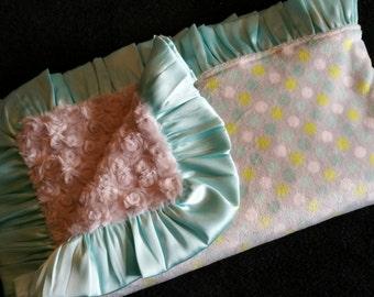 Aqua and Gray Polka Dot Minky Baby Blanket with Gray Rosebud Minky and Aqua Satin Trim