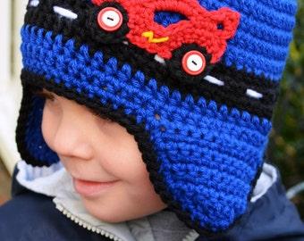 Crochet - RACE CAR HAT with earflaps