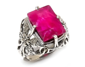 Natural Ruby Square Gemstone Ring 925 Sterling Silver R1057