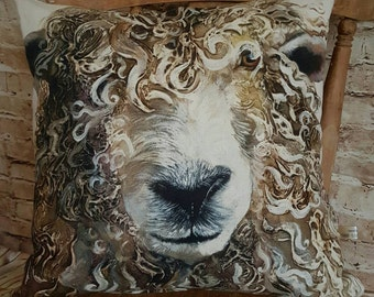 Handmade Square Rustic Cushion Pillow With Large Curly Sheep Image With Or Without Inner