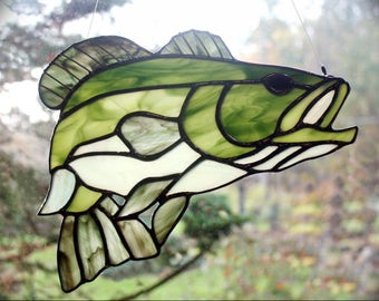 Stained Glass Bass, Gifts for Men, Wildlife Art, Glass Art, Stained Glass Fish