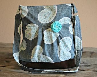 Handbag, Crossbody Purse, Messenger Bag, Medium Faux Leather Bag, Paisley Purse, Grey and Aqua Purse, Vegan Leather Bag, Pleated Purse