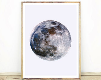Full Moon Print, Celestial Print, Moon Wall Art, Moon Decor, Gift for Him, Minimalist Art, Large Printable Poster, Instant Download,#534