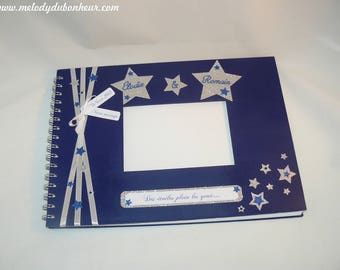 Wedding guest book theme star spangled silver Midnight Blue