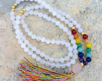 108 Mala  Tassel Necklace 7 Chakra Necklace Gemstone Yoga Necklace  Grounding Spirituality Protection Meditation Necklace Gift for Her