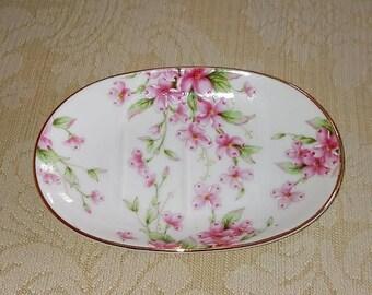 Vintage Lefton Soap Dish with Pink Dogwood Blooms - Porcelain Soap Dish - Southern Motif Decor