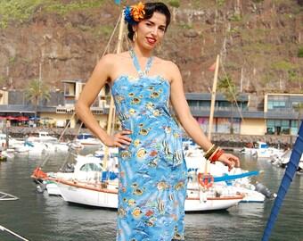 HALF PRICE SALE - 1950s Hawaiian sarong with bolero, reproduction vintage sarong set, tropical lotus flower or tropical  coral reef