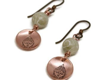 Copper Buddha Earrings, Karmic Serenity Collection, Carved Jade, Hand Stamped, Charm, Domed, Wire Wrapped, Simple, oxidized, niobium