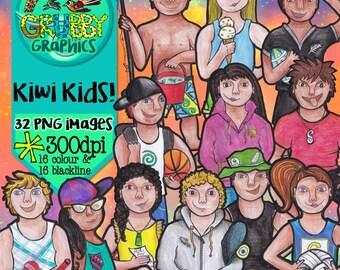 Kiwi Kids!  New Zealand Children Clip Art, Instant Digital Download