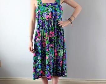 Vintage 1960s print dress, vintage summer dress, pinafore dress, small
