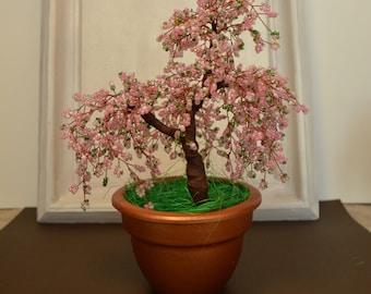 Office decor bonsai tree Cherry blossom Wire tree sculpture Sakura beaded bonsai tree Cherry blossom decor Wire wrapped tree