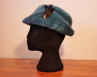 Vintage Teal Kangol Made in England Angora Hat