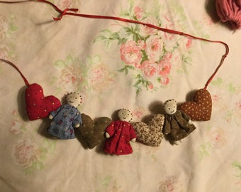 Vintage hand made fabric mini folk doll stuffed heart, banner,  vintage dolls