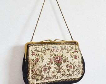 60s Floral Tapestry Handbag - Black Floral Evening Bag by Morgans west Germany