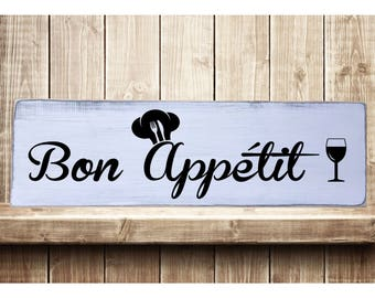 "Bon Appetit Rustic Farmhouse Style Handmade Wooden Sign Wall Art Distressed Home Decor  7.25""x 24"""