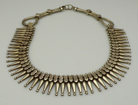 Vintage Native American Zuni Style Needle Point Sterling Silver Choker Necklace