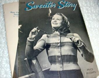 Sweater Story, 12 Knitting Patterns for Sweaters, Gazelle, Snowdrop, Fernlace, Pine Needles, Wood Violet, Zebra, Tortoise, 1938  (775-15)