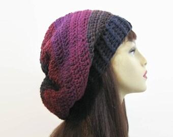 Crochet Burgundy Hat Slouchy hat Slouch Beanie Dark Purple Slouchy Hat Slouch Beanie Knit Slouch Hat Slouchy Tam Oversized Beanie Plum Hat