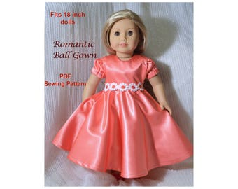 18 inch doll clothes pattern, Ball Gown Dress, for dolls such as American Girl Doll, PDF Sewing pattern, Christmas gift