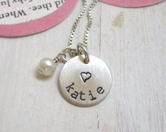 Custom Hand Stamped Necklace ...Girls Hand Stamped Personalized Name Necklace ...Personalized Jewelry ... Personalized Necklace ...