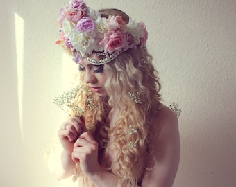 Velvet flower headpiece, velvet rose crown, bridal beaded headdress