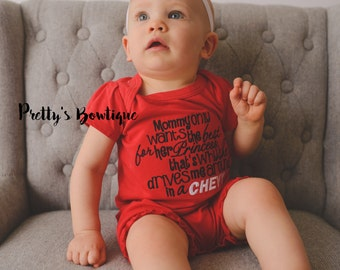 Mommy only wants the best for her princess that's why she drives me around in a CHEVY-- Girls outfit bodysuit/shirt/romper -- Girls outfit