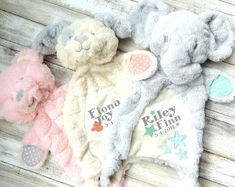 Personalized Baby Gift, Custom Lovey, New Baby Gift, Baby Toy, Teddy Bear Lovey, Puppy Lovey, Elephant Lovey, Big Sister Gift, Big Brother