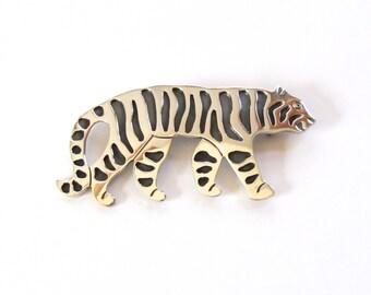 Taxco Sterling | Tiger Brooch | Silver Tiger Pendant | Brooch Pendant | Tiger Gift | Taxco Mexico | Jungle Cat | Tiger Lover | Tiger Pin